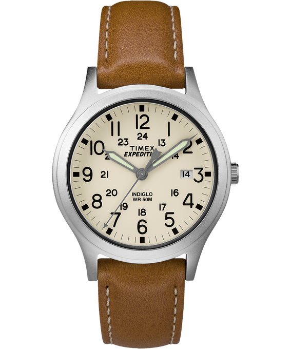 Expedition Scout Midsize 36mm Leather Watch IP-Steel/Tan/Natural large