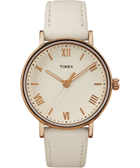 Southview 37mm Leather Watch Rose-Gold-Tone/White/Cream large
