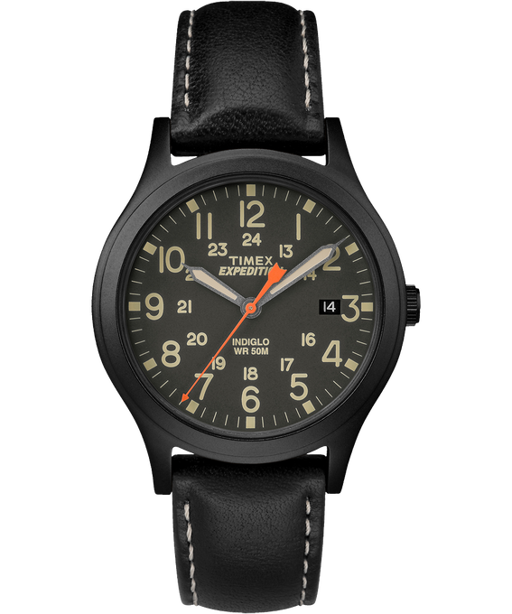 Expedition Scout Midsize 36mm Leather Watch Black large