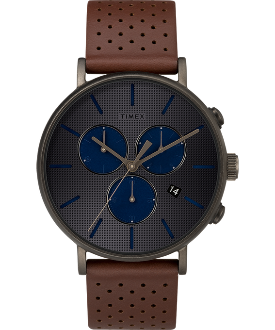 Fairfield Supernova 41mm Leather Strap Black/Brown/Gray large