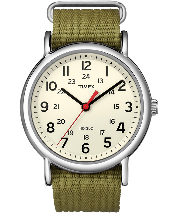 Weekender 38mm Nylon Strap Watch Silver-Tone/Green/Cream large