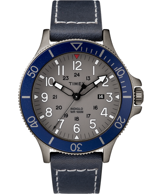 Allied Coastline 43mm Leather Watch Gray/Blue large