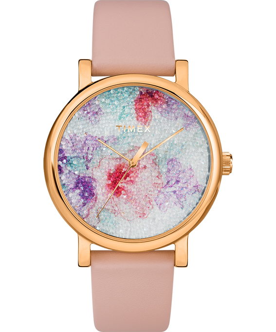 Crystal Bloom with Swarovski Fabric 38mm Leather Watch Rose-Gold-Tone/Pink/White large