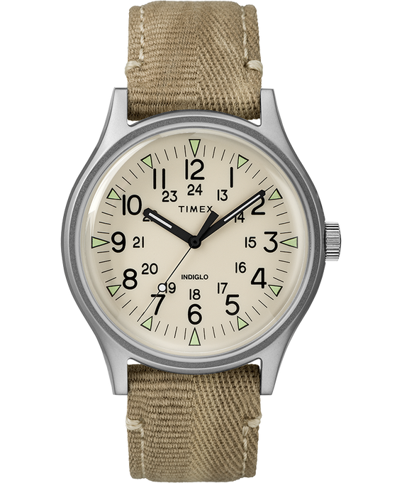 MK1 Steel 40mm Fabric Strap Watch Stainless-Steel/Tan/Natural large