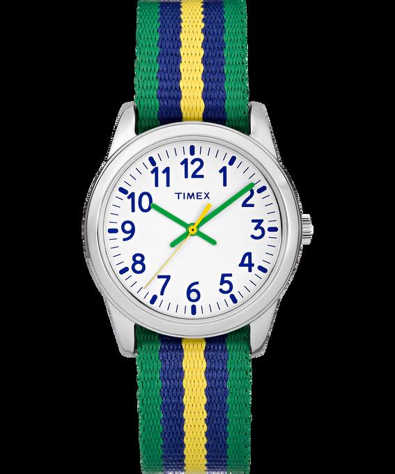 30mm Kids Striped Nylon Analog Watch Silver-Tone/Green/White large