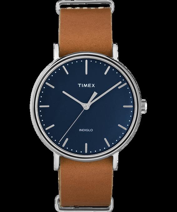 Fairfield 41mm Slip-Thru Leather Watch Chrome/Tan/Blue large