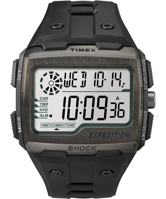 Expedition Grid Shock 50mm Resin Strap Watch Black/Gray large