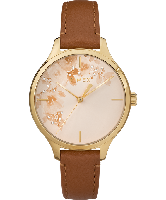 Crystal Bloom with Swarovski Elements 36mm Leather Watch Gold-Tone/Tan large
