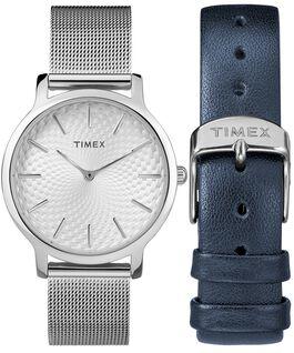 Geschenkset Metropolitan, 34 mm, mit Mesh-Armband und Zusatzarmband Silberfarben large