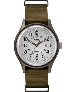 MK1 Aluminum 40mm Nylon Strap Watch White/Brown large