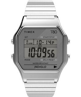 Timex T80 Edelstahl mit Stretch-Armband, 34 mm Silberfarben large