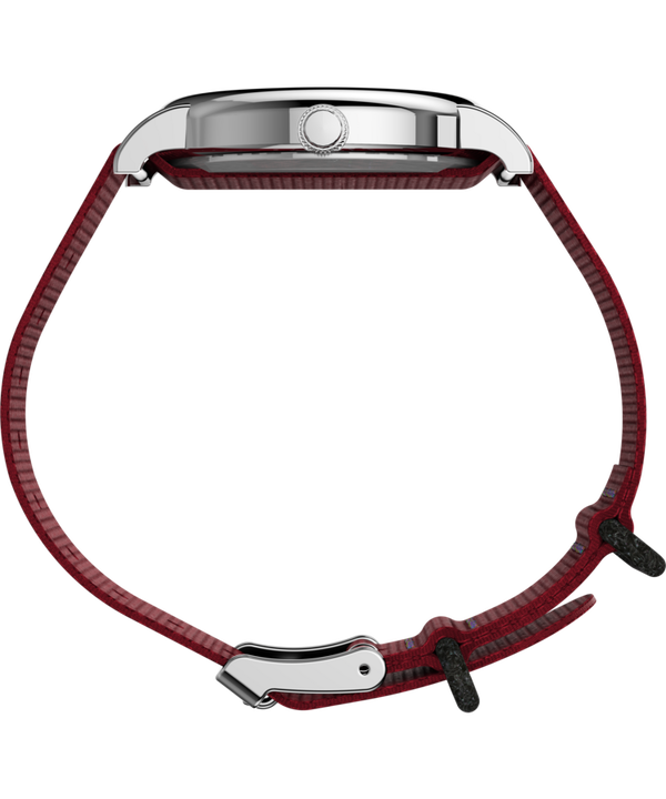 Timex x Peanuts - Snoopy mit Textilarmband, 38mm Silver-Tone/Red/White large