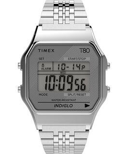Timex T80 Neuauflage mit Edelstahlarmband, 34 mm Silberfarben large