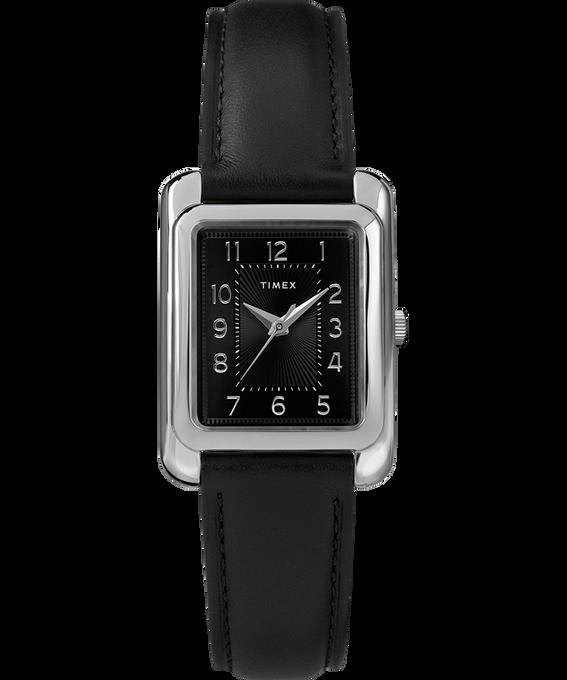 Meriden 25mm Leather Strap Watch Chrome/Black large