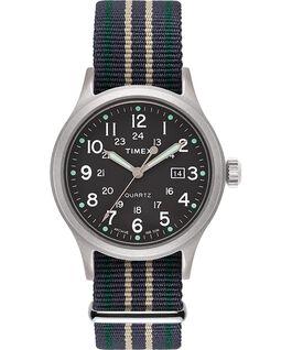 Allied, Textilarmband 40 mm, Uhr mit Punkte-Index Silberfarben/grün large