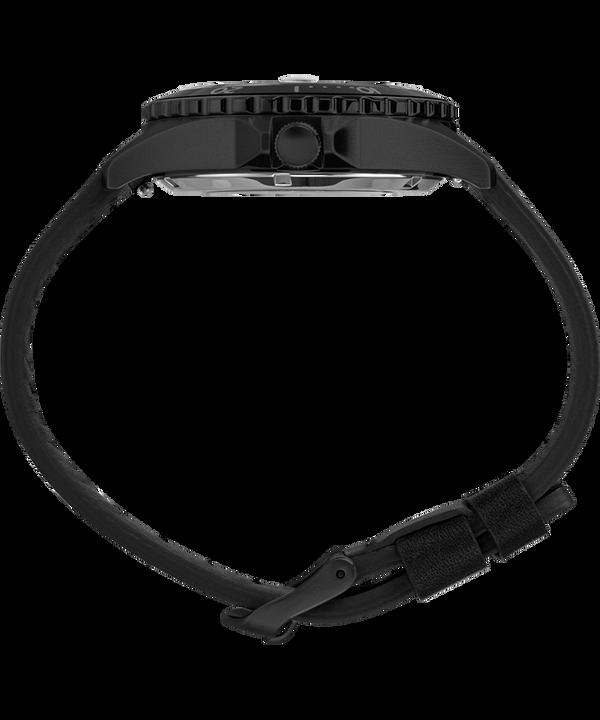 Navi XL Automatik mit Lederarmband, 41 mm Edelstahl/schwarz/schwarz large