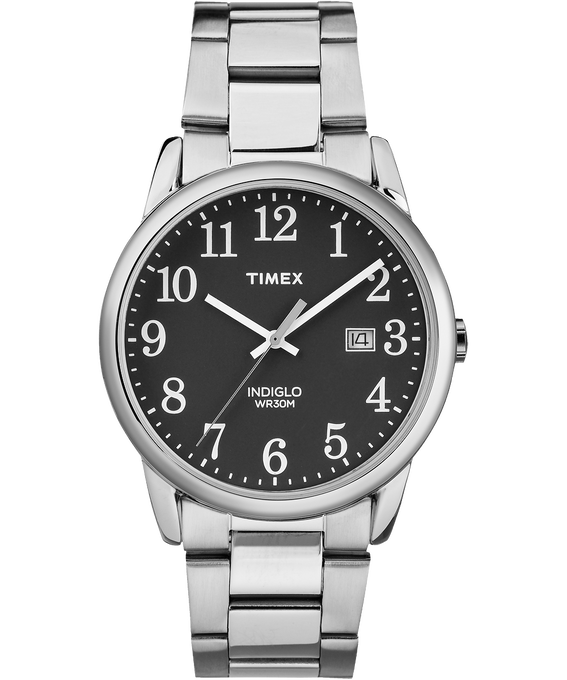 Easy Reader 38mm Stainless Steel Watch with Date Silver-Tone/Black large