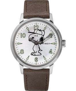 Welton featuring Snoopy mit Lederarmband, 40mm Edelstahl/braun/silberfarben large