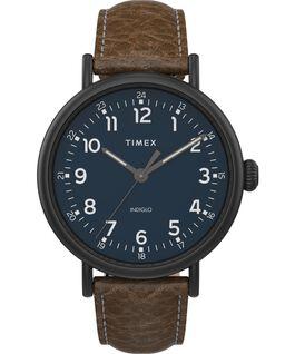 Timex Standard XL mit Lederarmband, 43 mm Schwarz/braun/blau large