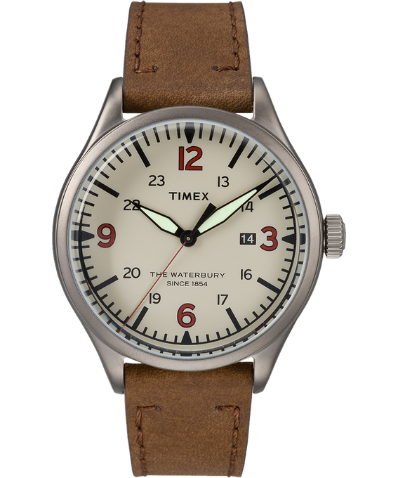 Waterbury Traditional 40mm Leather Watch Gunmetal/Brown/Cream large