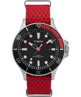 Allied Coastline mit rotierender Lünette und Textilarmband, 43 mm Silberfarben/rot/schwarz large
