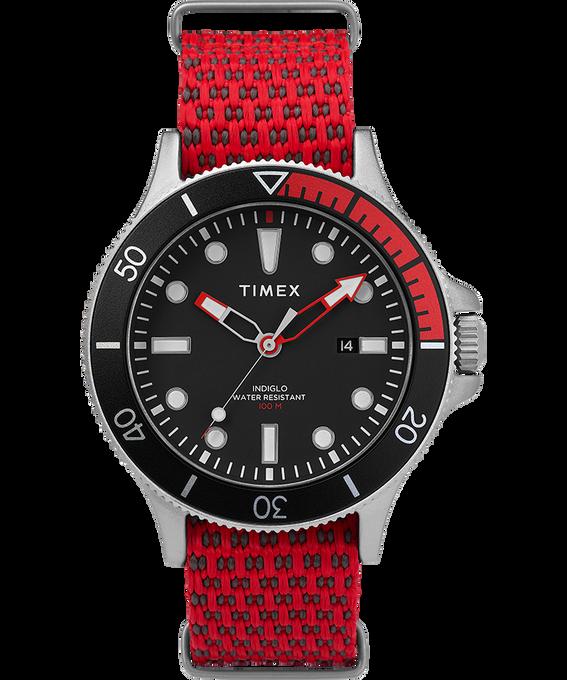Allied Coastline mit rotierender Lünette und Silikonarmband, 43 mm Silberfarben/rot/schwarz large
