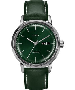 Marlin Automatic 40mm Leather Strap Watch with Day Date Stainless-Steel/Green large