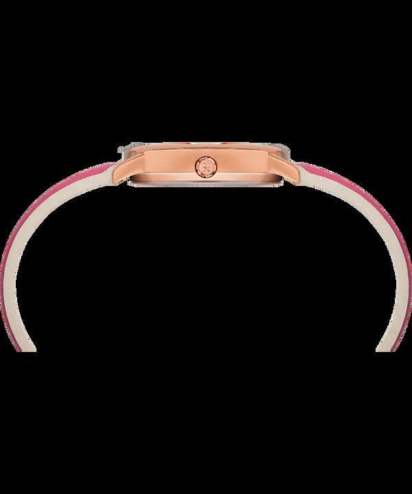 Easy Reader mit Farbspritzer und Lederarmband, 30mm Roségoldfarben/rosa/weiß large