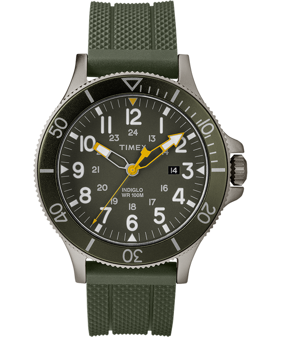 Allied Coastline 43mm Silicone Strap Watch Gray/Green large