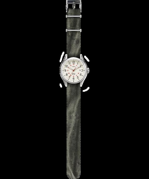 Waterbury United mit Textilarmband im Stonewashed-Stil, 38mm Silberfarben/grün/natur large