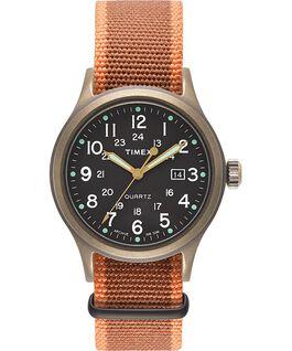 Allied, Textilarmband 40 mm, Uhr mit Punkte-Index Bronzefarben/schwarz large