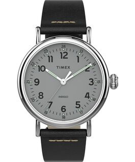 Standard mit Lederarmband, 40 mm Silver-Tone/Black/Silver-Tone large