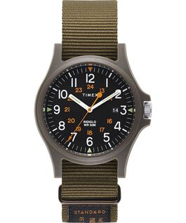 Acadia Military mit Ripsband-Armband, 40 mm Grün/schwarz large