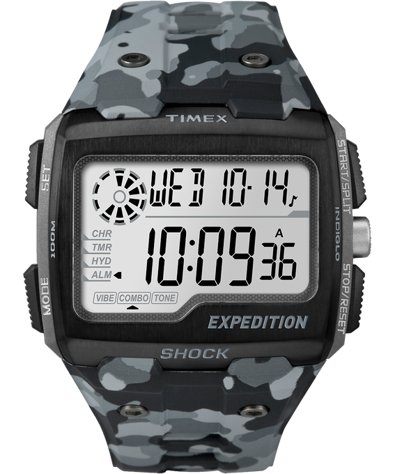 Expedition Grid Shock 50mm Resin Strap Watch Gray/Black large