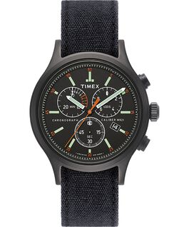 Allied Chronograph mit Denim-Armband im Stonewashed-Stil, 42 mm Schwarz large