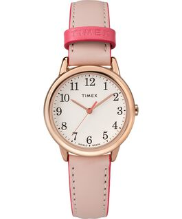 Easy Reader Color Pop 30mm Leather Watch Womens Rose-Gold-Tone/Pink/Cream large