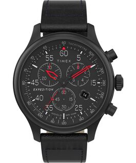 Expedition Field Chronograph mit Lederarmband, 43 mm Schwarz large