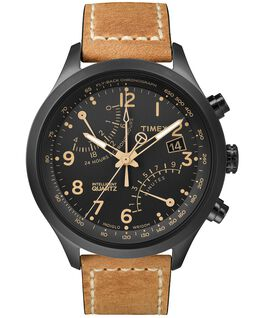 Intelligent Quartz Fly-Back Chronograph 43mm Leather Watch Black/Tan large
