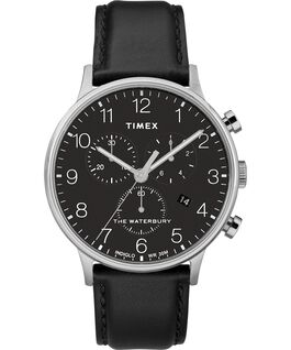 Waterbury-40mm-Classic-Chrono-Leather-Strap-Watch Stainless-Steel/Black large