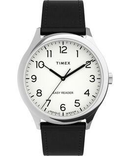 Easy Reader Gen1 40mm Leather Strap Watch Silver-Tone/Black/White large