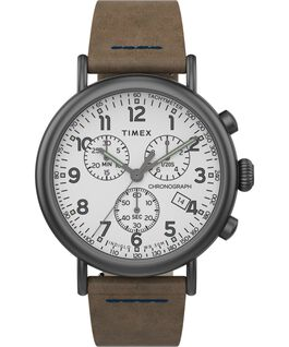 Standard Chronograph mit Lederarmband, 40 mm Gunmetal/Brown/White large