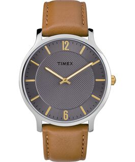 Metropolitan Mens 40mm Leather Watch Silver-Tone/Brown/Gray large