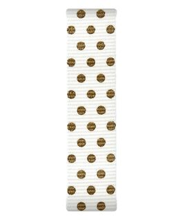 Cremefarben/Nylon-Armband zum Überstreifen mit goldfarbenen Punkten  large