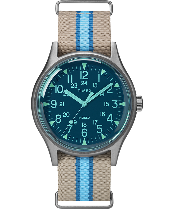 MK1 California mit Textilarmband, 40mm Silberfarben/grau/blau large