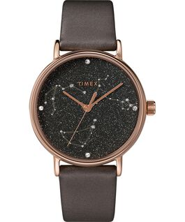 Celestial Opulence 37mm Textured Strap Watch Titanium/Brown large