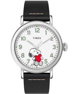 Timex x Peanuts Valentines Day Standard 40mm Leather Strap Watch Silver-Tone/Black/White large