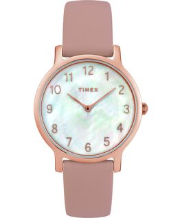 Metropolitan 34mm Leather Watch with Mother of Pearl Dial Rose-Gold-Tone/Pink/Mother-of-Pearl large