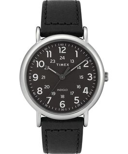 Weekender 2 Piece 40mm Leather Watch Silver-Tone/Black large