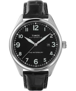 Waterbury Traditional Automatic 42mm Leather Strap Watch Stainless-Steel/Black large