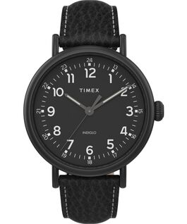 Timex Standard XL mit Lederarmband, 43 mm Schwarz large